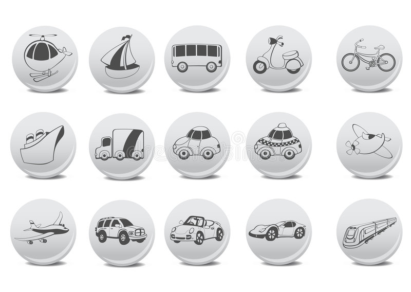 Transportation icons. Vector illustration of transportation icons on the grey buttons stock illustration