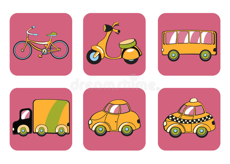 Transportation icons. Vector Illustration of transportation icons. Includes bicycle, minibike, bus, track, car and taxi on the pink background stock illustration