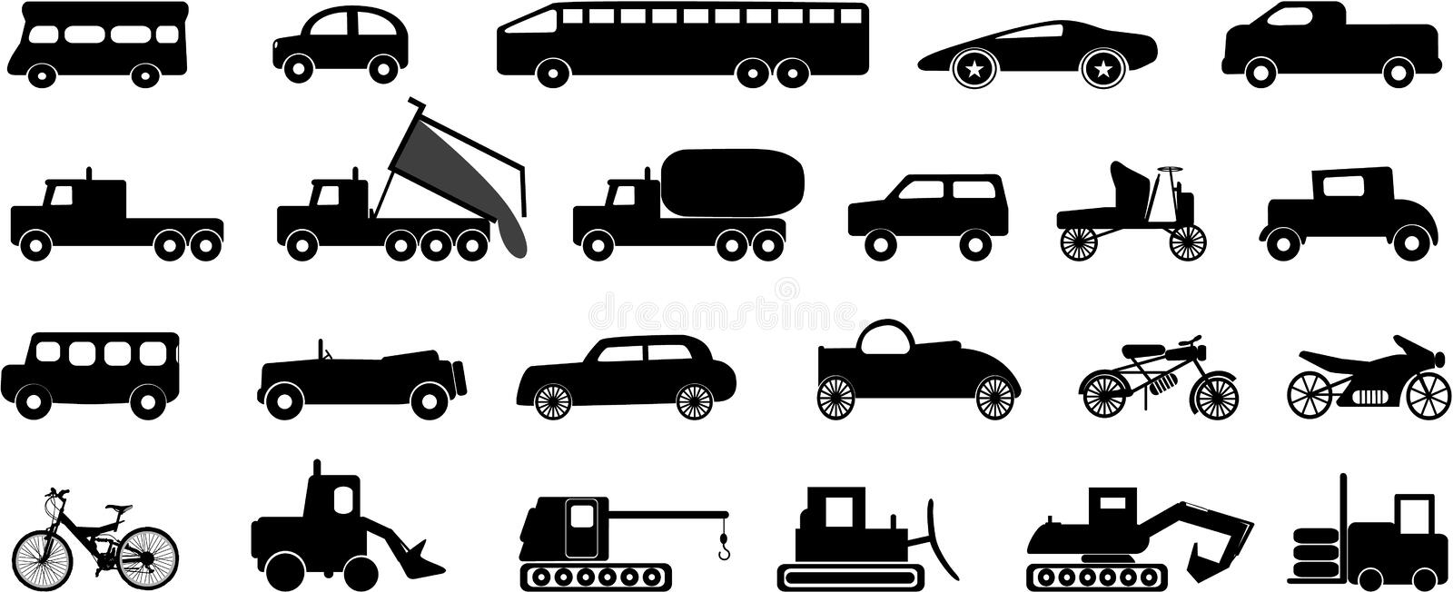 Download Transportation icons stock vector. Image of illustration - 9648230