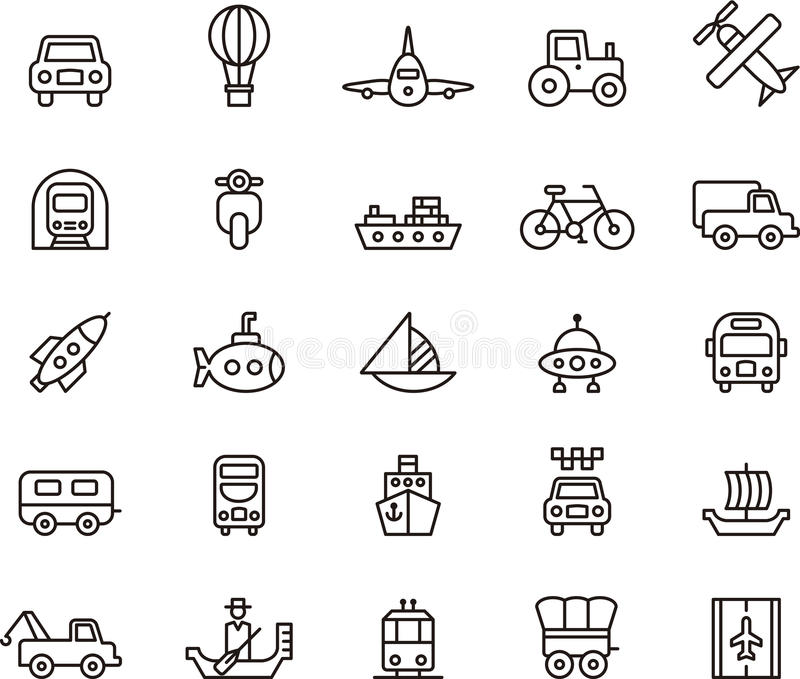 Transportation icons stock illustration