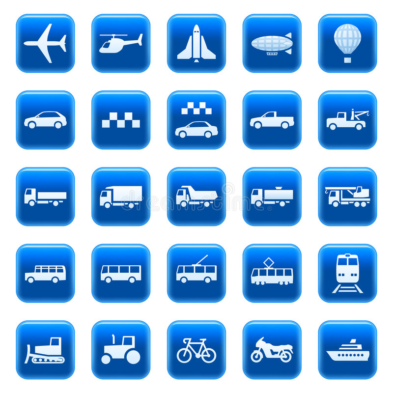 Transportation icons / buttons royalty free illustration