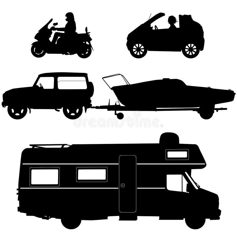 Transportation icons collection - vector silhouett vector illustration