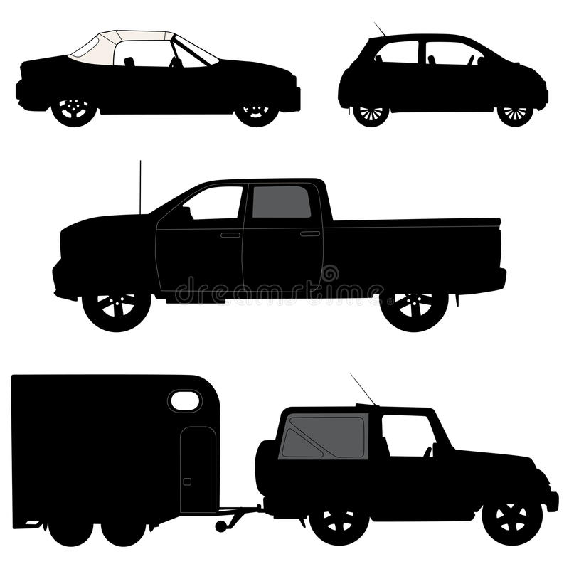 Transportation icons collection - vector silhouett. Transportation icons collection - 2d vector silhouette royalty free illustration