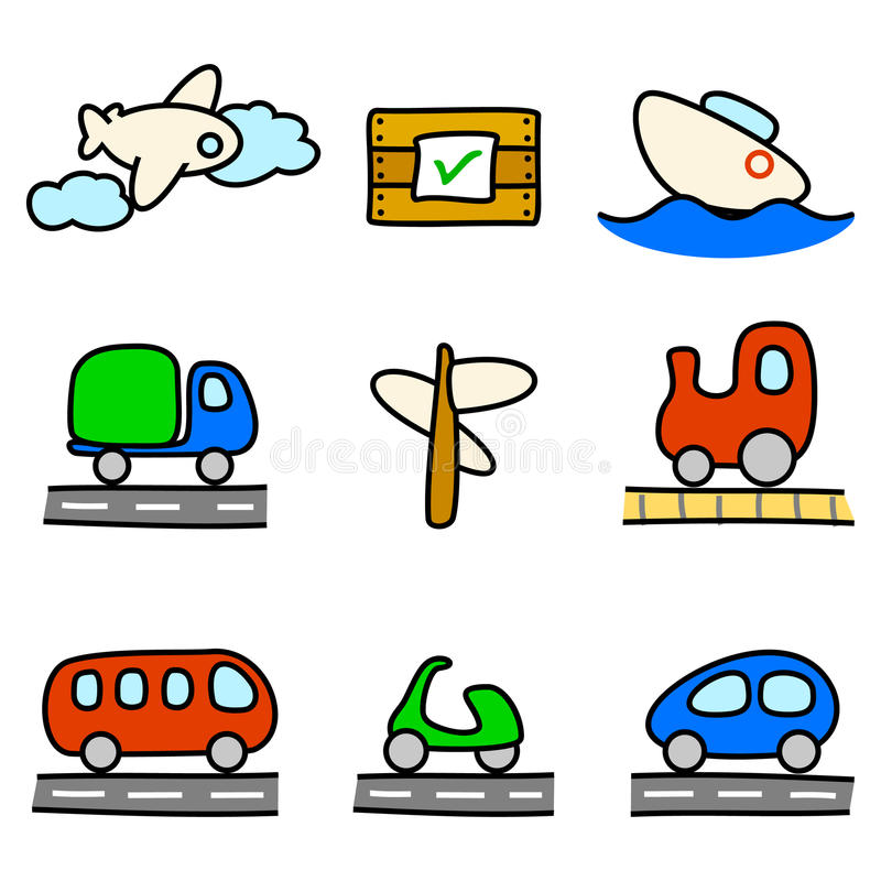 Download Transportation Icons (color Variation) Stock Vector - Image: 15215374