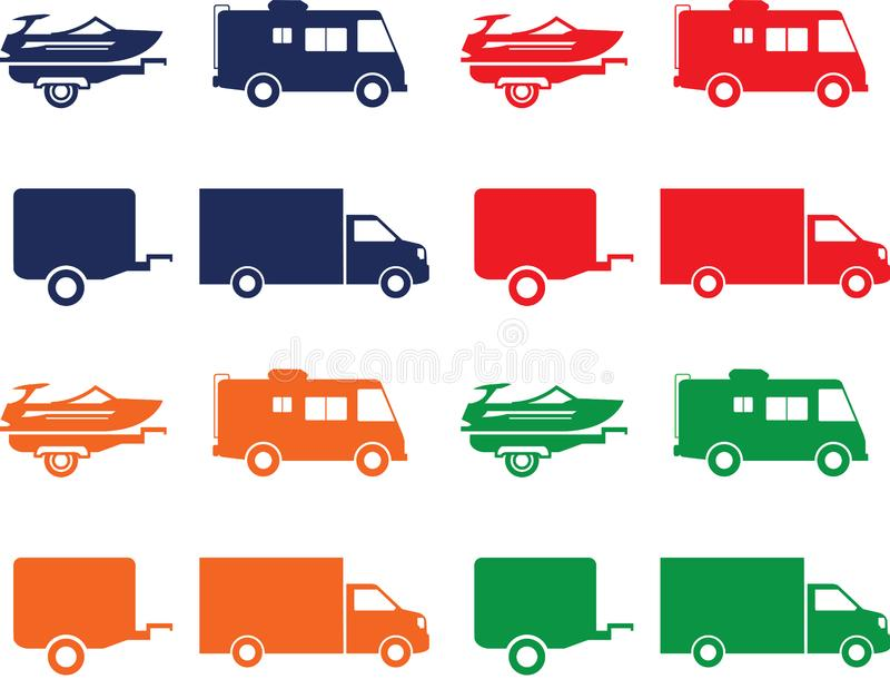 Transportation icons of motorhome, truck, van, trailer and boat. Boat, truck, motorhome, trailer, transportation icons in red, navy, green and orange colors stock illustration