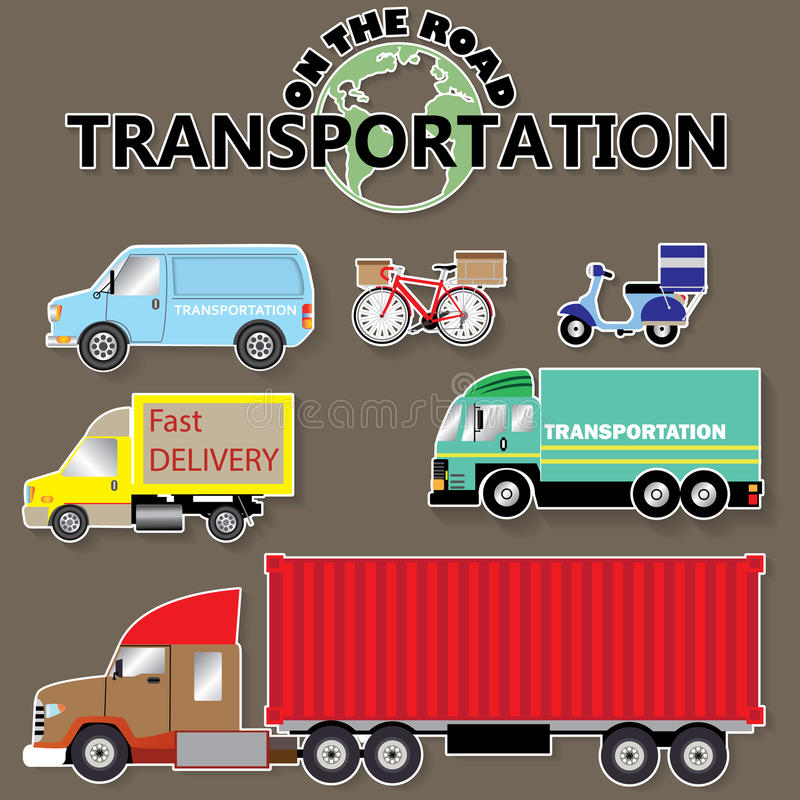 Transportation icons by road vector illustration