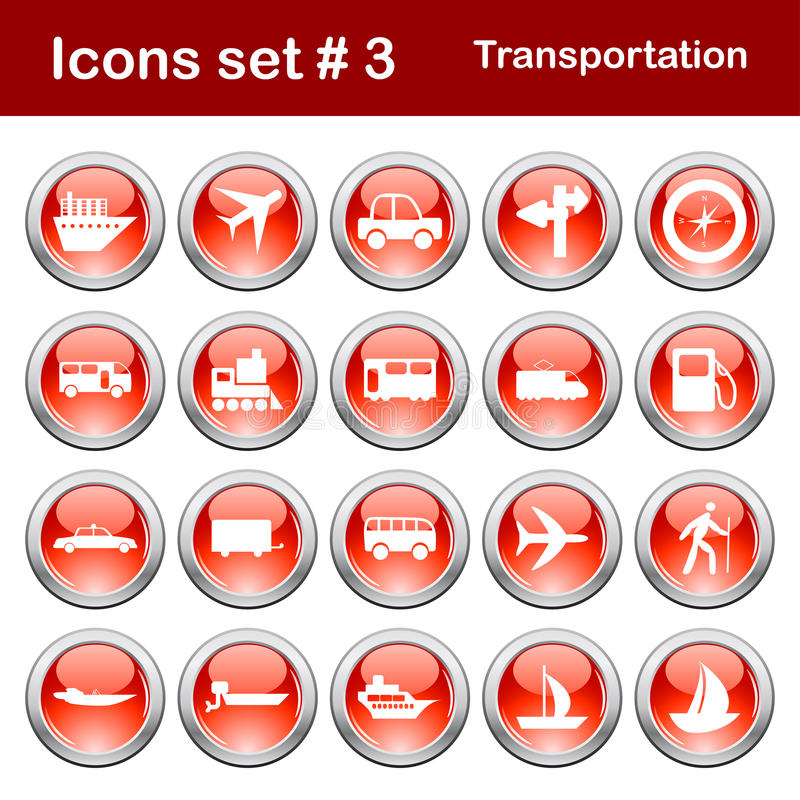Download Transportation icons set stock vector. Image of pictogram - 11824089
