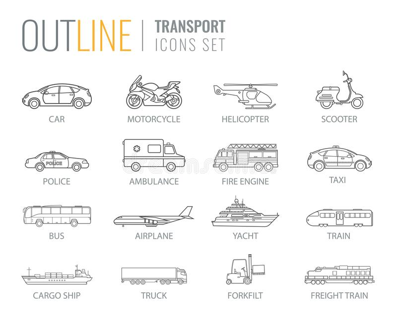 Transportation icons set. City cars and vehicles transport. Car, ship, airplane, train, motorcycle, helicopter. Outline royalty free illustration