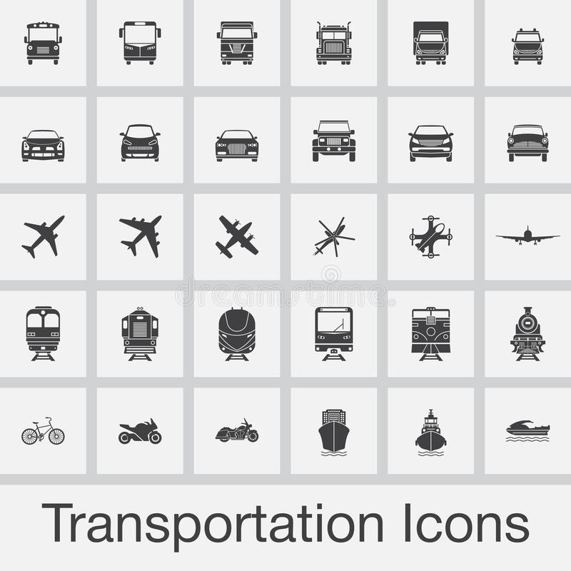 Transportation icons set vector isolated on grey background stock illustration