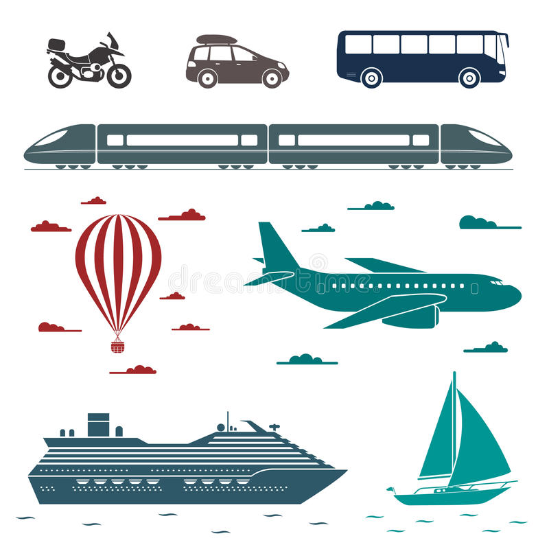 Transportation icons. Vector set of different means of transport vector illustration