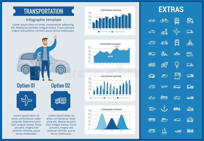 Transportation infographic template and elements. royalty free illustration