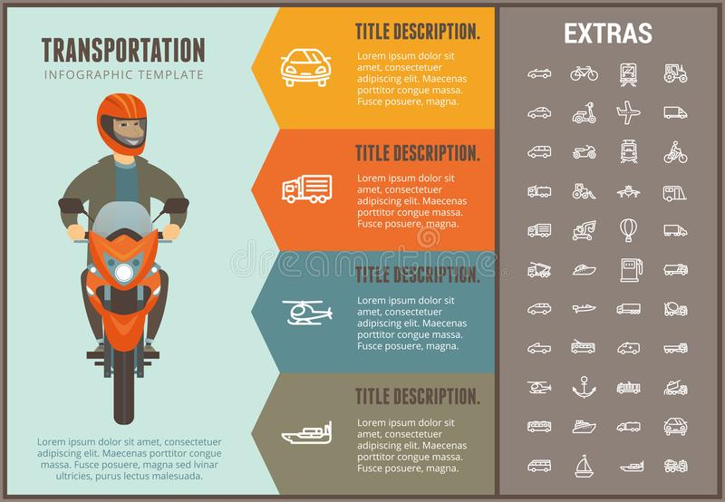 Transportation infographic template and elements. Transportation infographic options template, elements and icons. Infograph includes line icon set with stock illustration