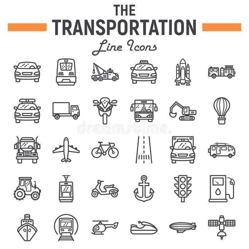 Transportation line icon set, transport symbols stock illustration