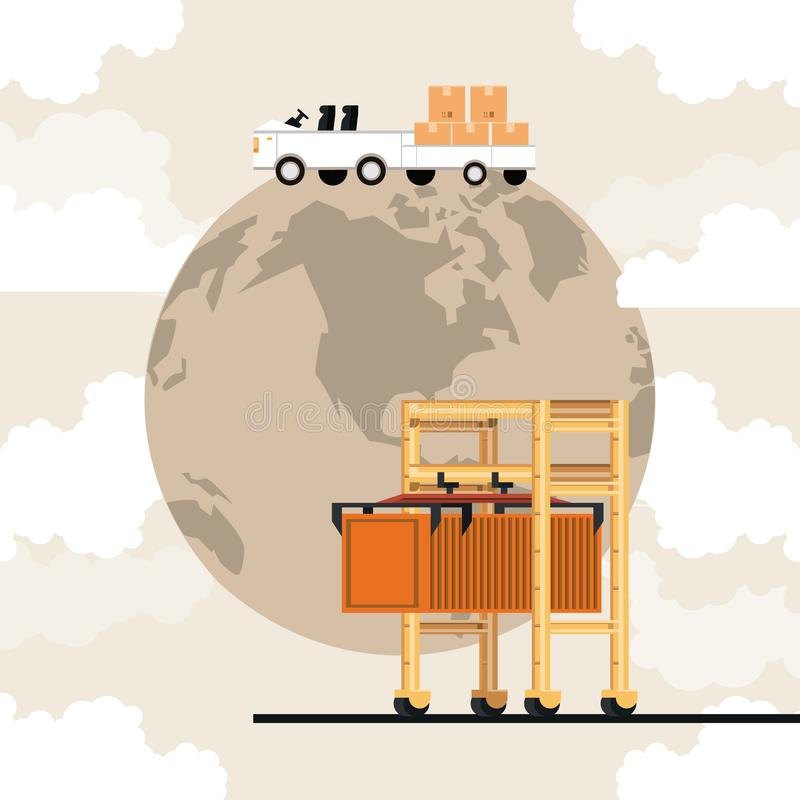 Transportation merchandise logistic cargo cartoon. Transportation merchandise logistic cargo luggage airport car with container crane picking boxes merchancy stock illustration