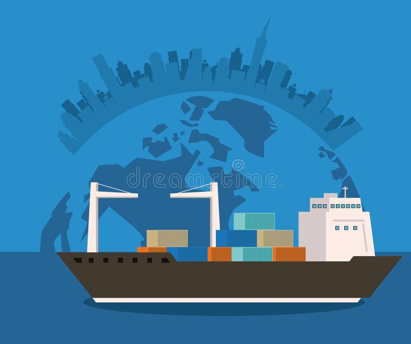 Transportation merchandise logistic cargo cartoon. Transportation merchandise logistic cargo ship making international travel delivery around the world cartoon vector illustration
