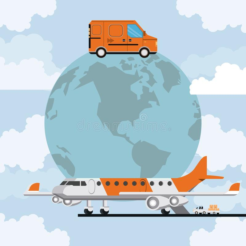 Transportation merchandise logistic cargo cartoon. Transportation merchandise logistic truck van with airplane making cargo international delivery in route royalty free illustration