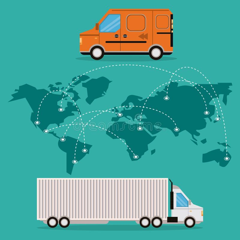 Transportation merchandise logistic cargo cartoon. Transportation merchandise logistic truck with van making cargo international delivery route around the world vector illustration