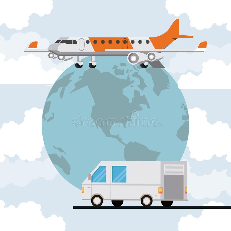 Transportation merchandise logistic cargo cartoon. Transportation merchandise logistic cargo van with airplane making international delivery route around the stock illustration