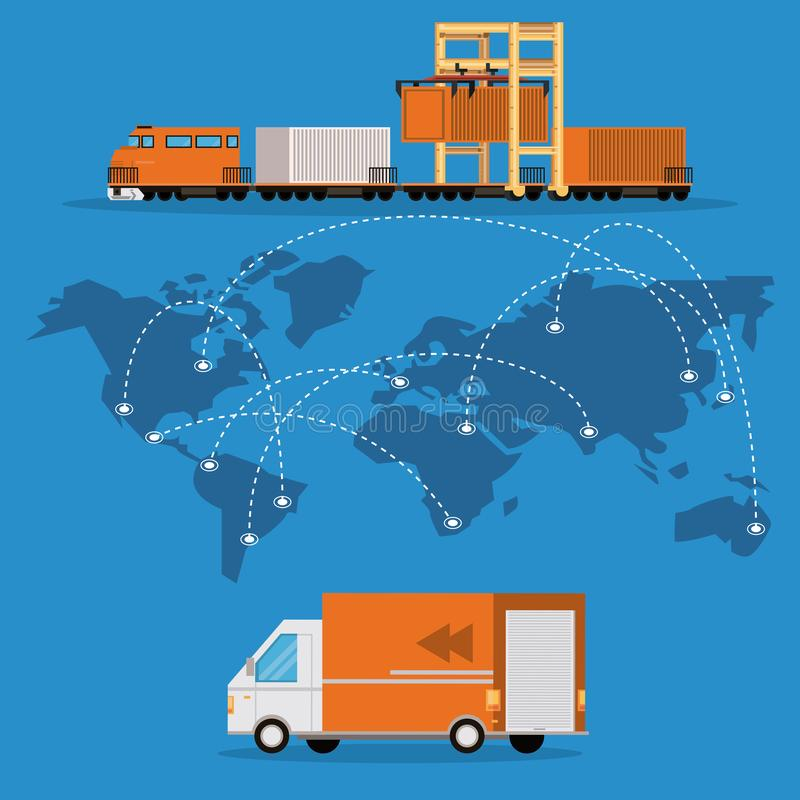 Transportation merchandise logistic cargo cartoon. Transportation merchandise logistic cargo van with train making international delivery route around the world vector illustration