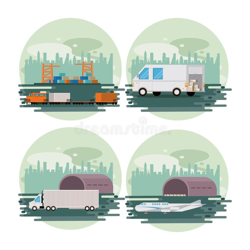 Transportation merchandise logistic cargo cartoon. Transportation merchandise logistic cargo vehicles making delivery and traveling by distribution route round vector illustration