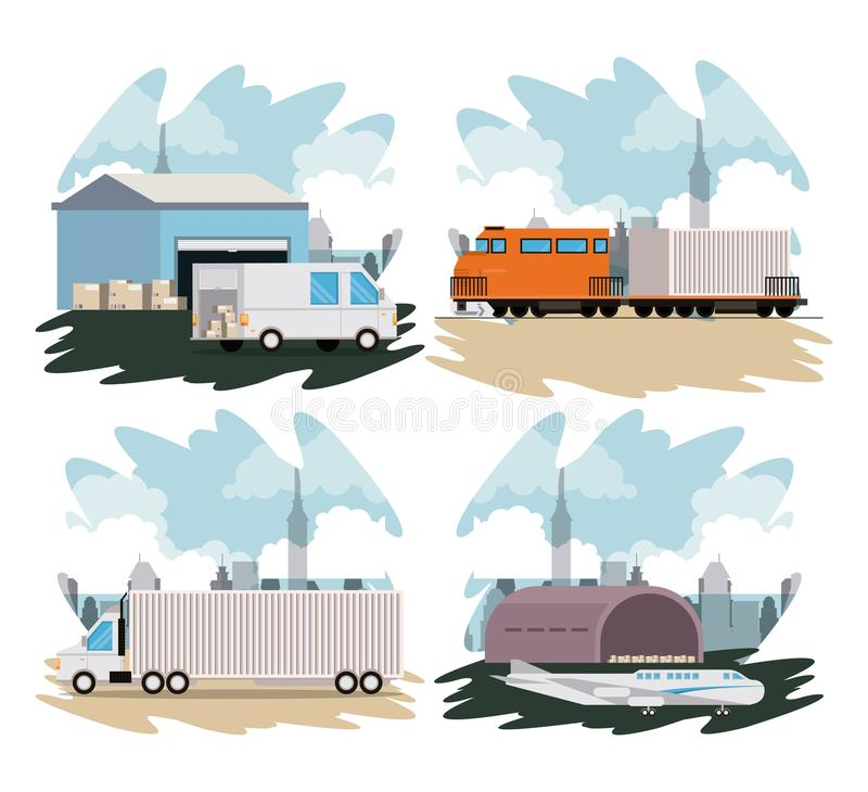Transportation merchandise logistic cargo cartoon. Transportation merchandise logistic cargo vehicles making delivery and traveling by distribution route cartoon royalty free illustration