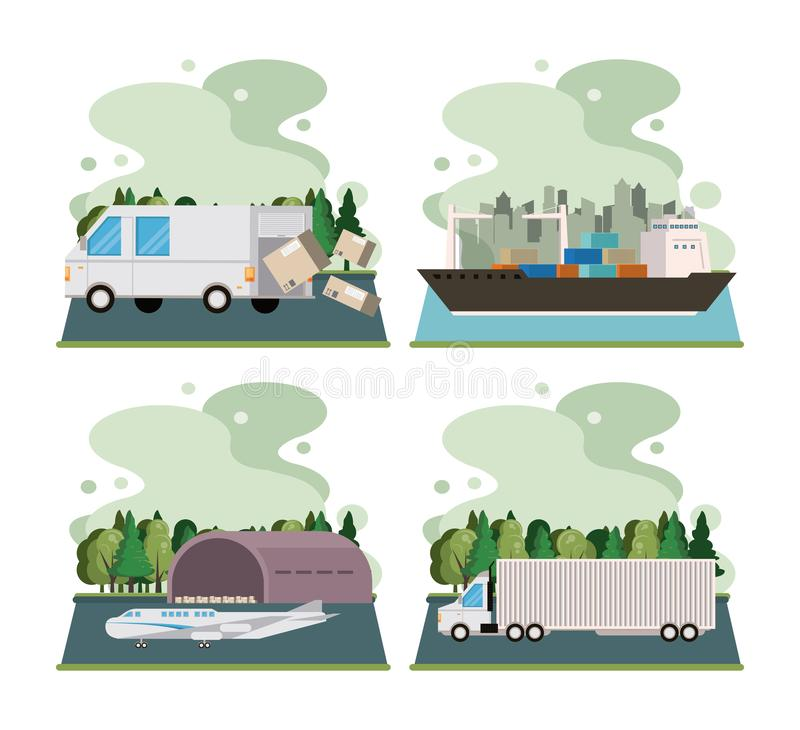 Transportation merchandise logistic cargo cartoon. Transportation merchandise logistic cargo vehicles making delivery and traveling by distribution route cartoon vector illustration