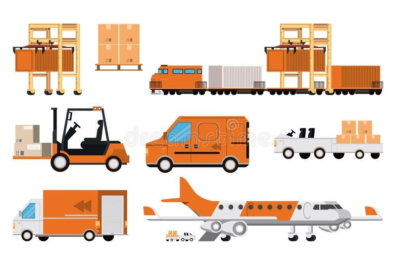 Transportation merchandise logistic cargo cartoon. Transportation merchandise logistic cargo vehicles set making delivery and traveling by distribution route vector illustration