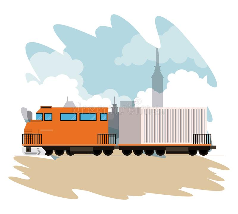 Transportation merchandise logistic cargo train cartoon. Transportation merchandise logistic cargo train with container making travel in distribution route vector illustration