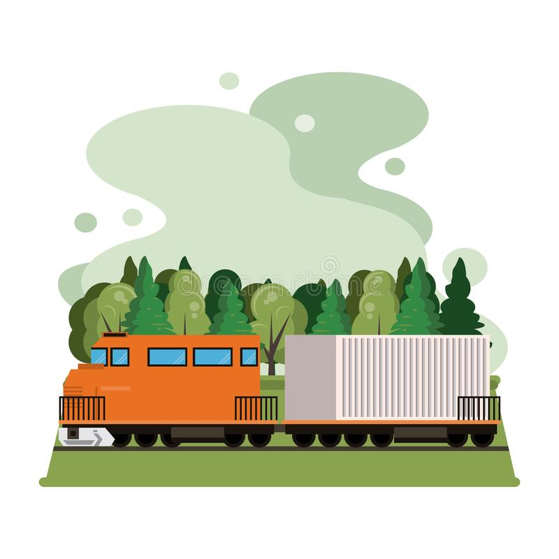Transportation merchandise logistic cargo train cartoon. Transportation merchandise logistic cargo train with container making travel in distribution route royalty free illustration