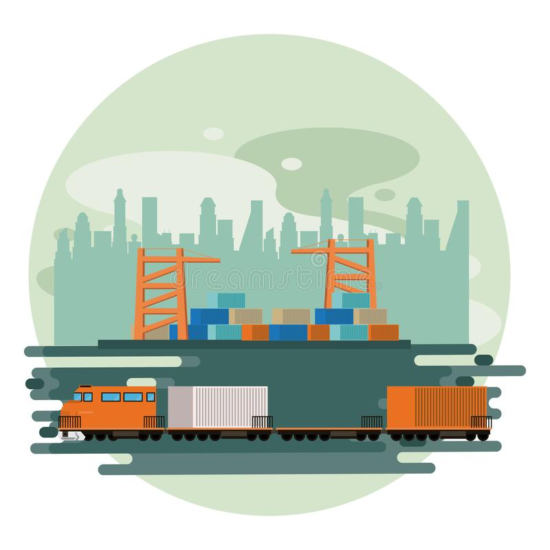 Transportation merchandise logistic cargo train cartoon. Transportation merchandise logistic train with container at merchancy port making travel in distribution vector illustration