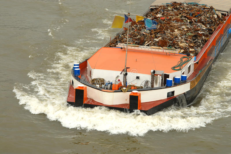 Download Transportation Of Metal On A Barge Stock Image - Image: 22787085