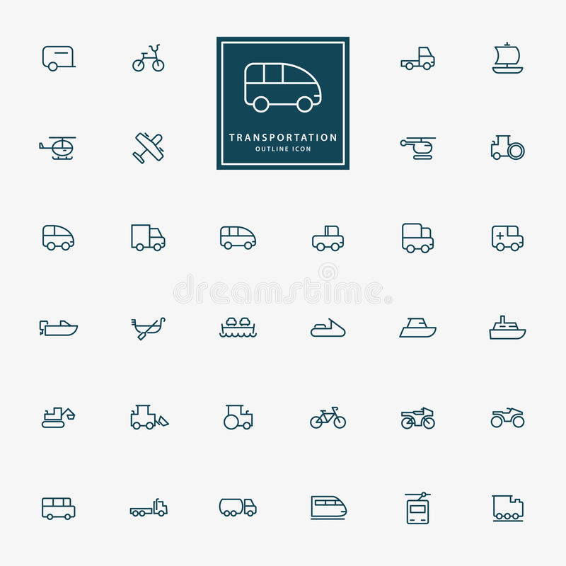 32 transportation minimal outline icons. Vector royalty free illustration