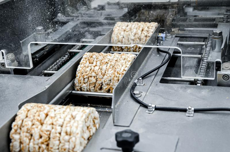 Transportation from one process to another on food production line. Modern equipment food industry.  stock image