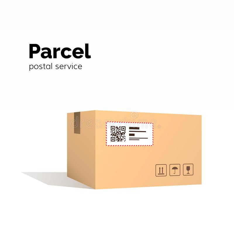 Transportation parcel. carton box container. QR code, closed parcel box, package paper box. package service, flat vector stock illustration