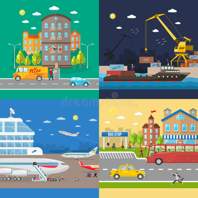 Transportation of passengers and goods delivery stock illustration