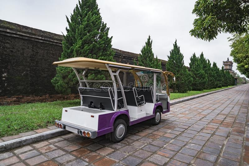 Transportation of people. Electro Auto. Car for transportation of tourists. Electric car. Tourist bus. Car for transporting people royalty free stock photo