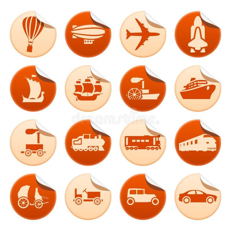 Transportation progress stickers. Set of transportation progress stickers royalty free illustration