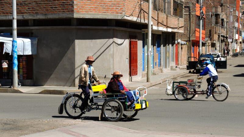 Transportation in Puno, Peru. royalty free stock photos