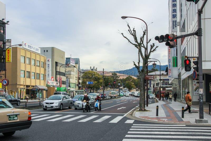 Transportation on the road of Nara. Car trip by Japan. stock photos