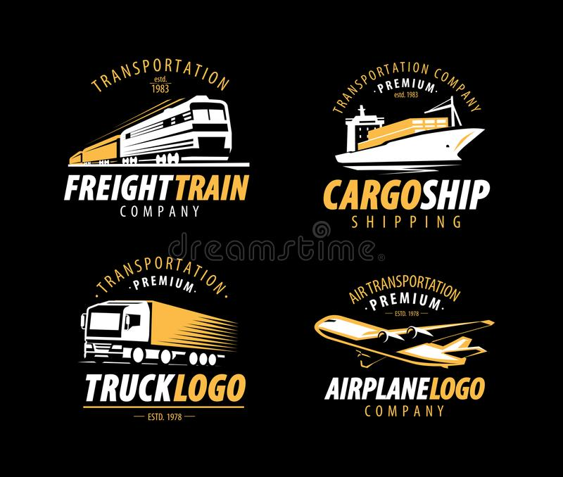 Transportation, shipping logo. Cargo transport, delivery label set. Vector illustration royalty free illustration