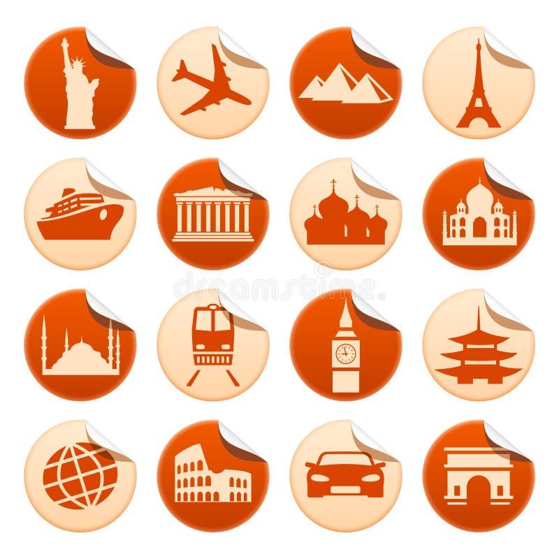 Transportation & sights stickers. Set of transportation and sights stickers stock illustration