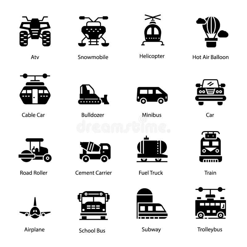 Transportation Solid Icons Set vector illustration