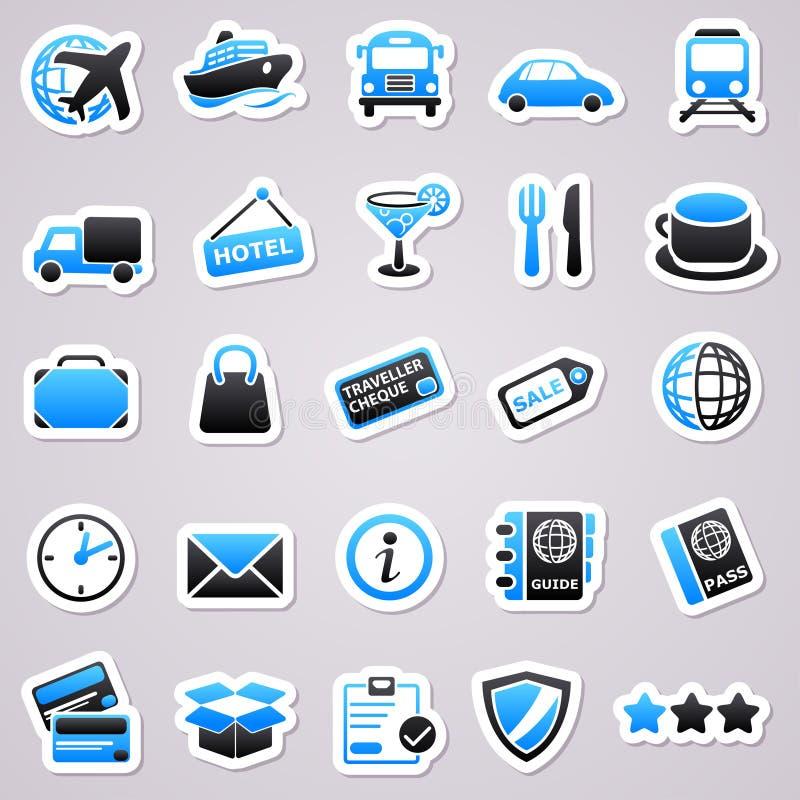 Transportation stickers. Blue transportation stickers. Transportation icon concepts vector illustration