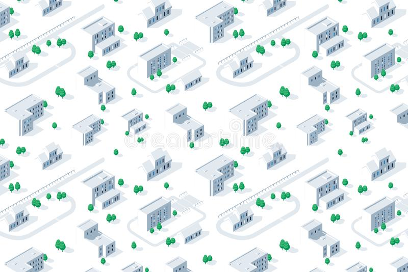 Transportation street. Isometric view of skyscraper office buildings and residential construction area on white background vector illustration