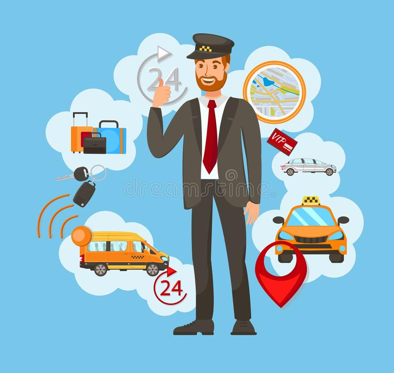 Transportation, Taxi Service Vector Illustration. Chauffeur, Driver in Uniform Cartoon Character. Baggage, Automobile Delivery Business. Cab Driver Profession royalty free illustration