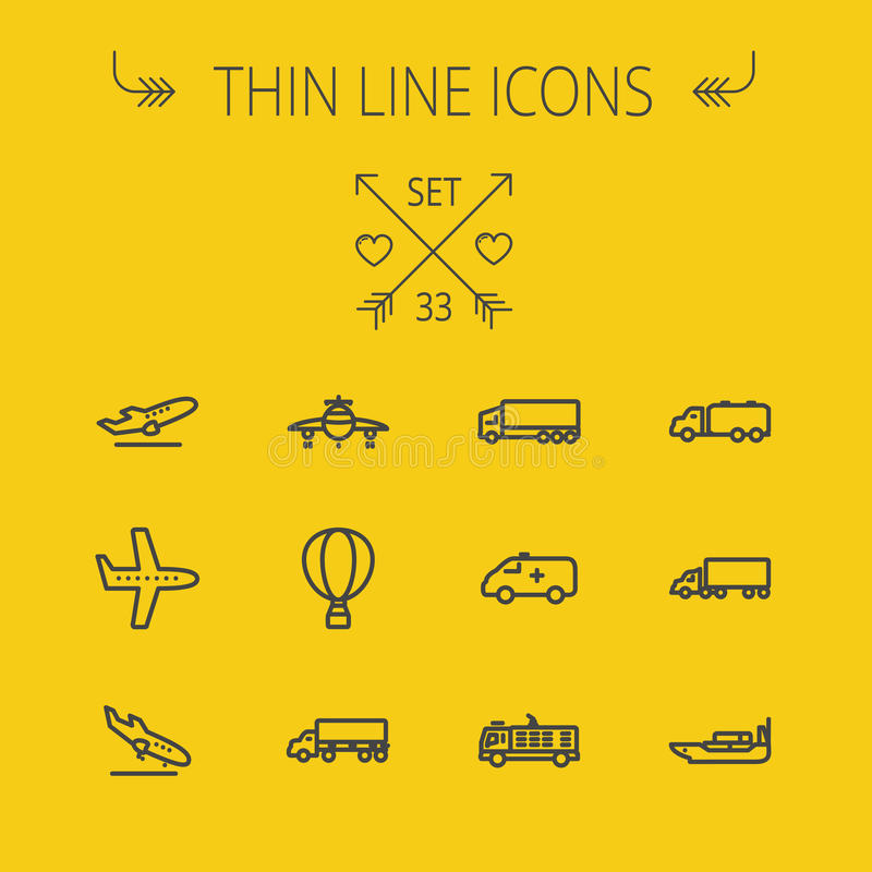Transportation thin line icon set. For web and mobile. Set includes- fire truck, trucks, plane, ships, hot air balloon icons. Modern minimalistic flat design royalty free illustration