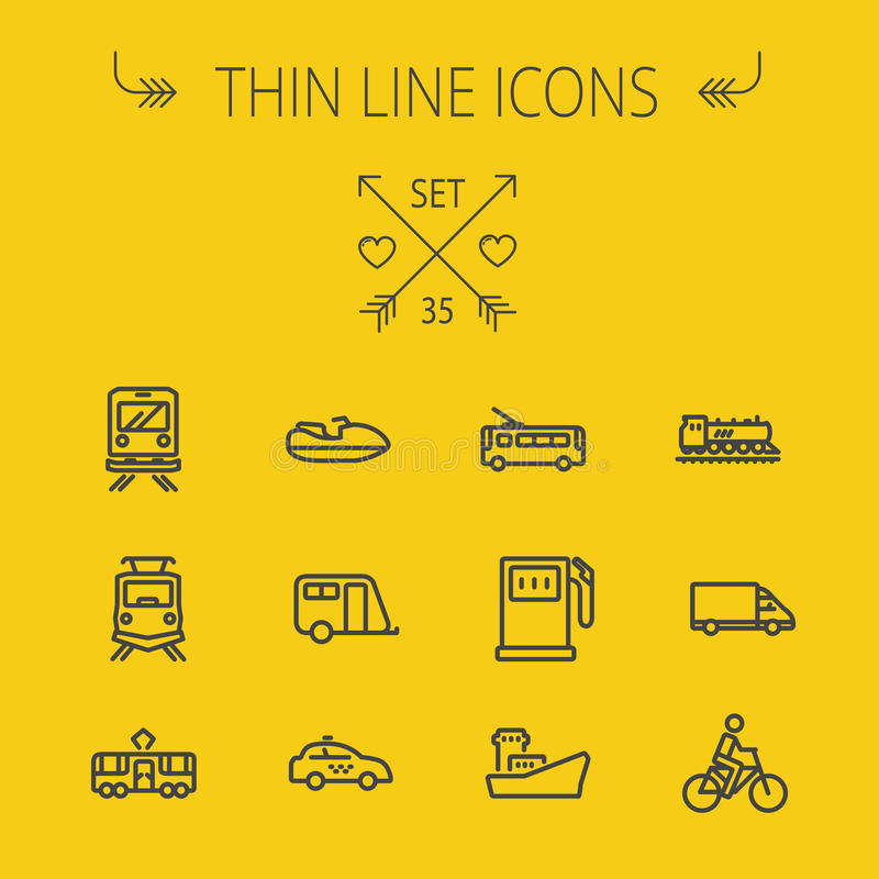 Transportation thin line icon set. For web and mobile. Set includes- yacht, train, bicycle, gas tank, ship, van, police car, boat, motor, icons. Modern vector illustration