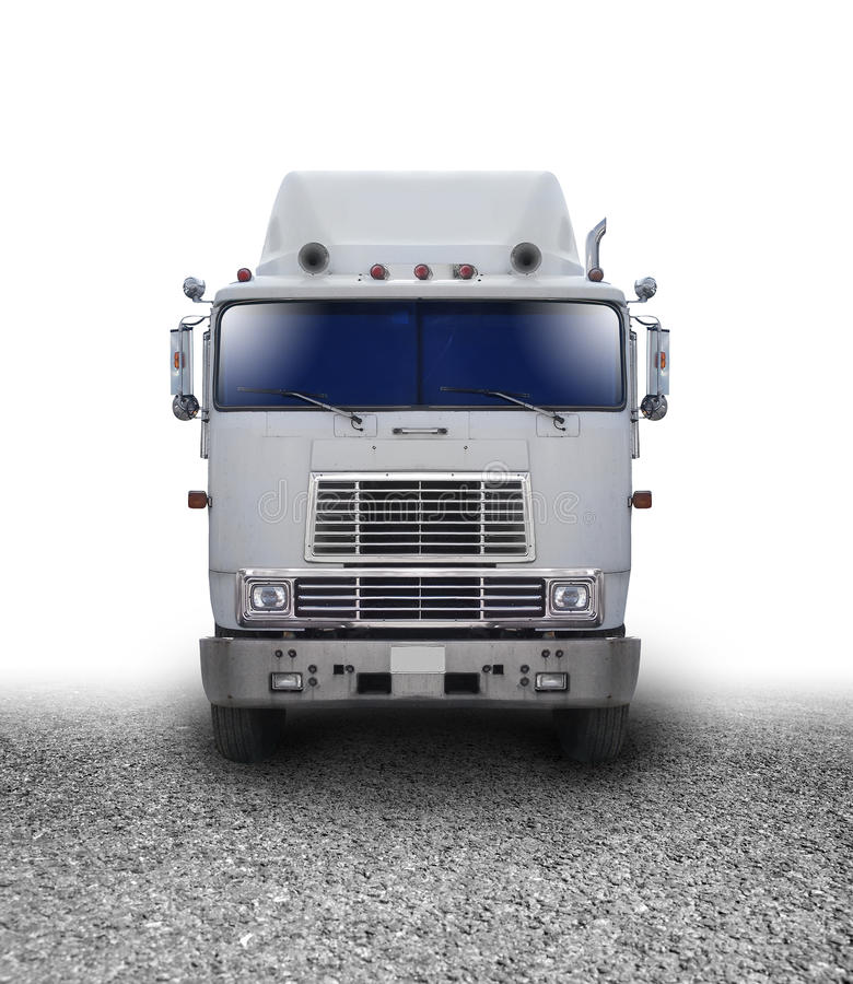 Transportation Truck Traveling on Road. A truck is isolated on a white background with a cement road. Use it for a delivery or transportation concept royalty free stock photography