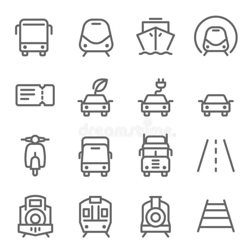 Transportation Vector Line Icon Set. Contains such Icons as Subway, Train, Eco Car, Truck and more. Expanded Stroke stock illustration