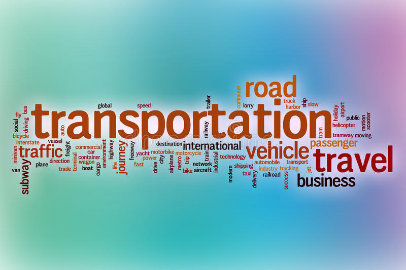 Transportation word cloud with abstract background. Transportation word cloud concept with abstract background royalty free illustration